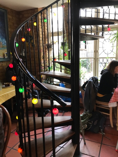 Fairy lights up the spiral staircase