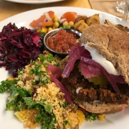 burger of the day with homefries and salad