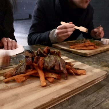 steak slices with sweet potato fries