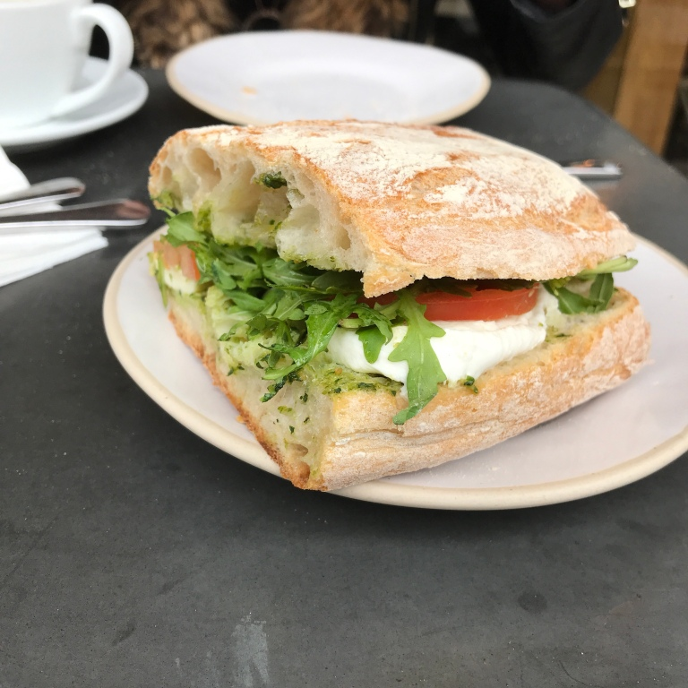 Mozzarella, Pesto & Tomato on Sourdough Ciabatta