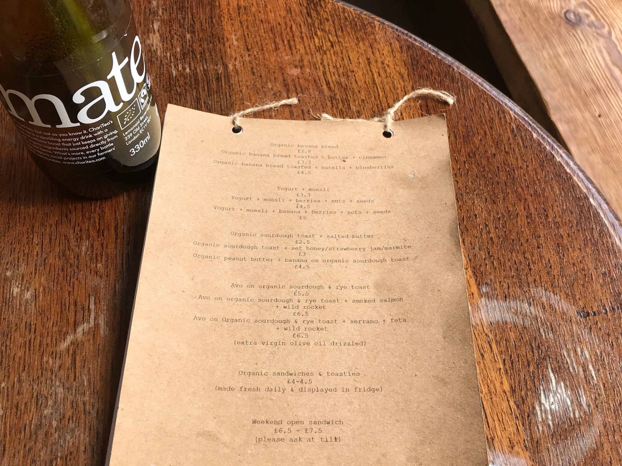 Sugar Pot's menu