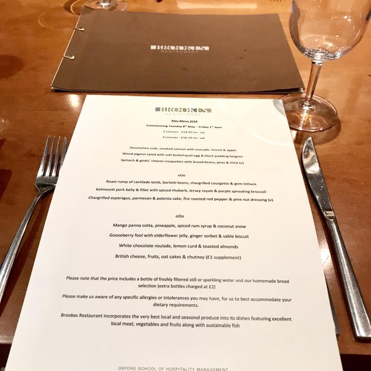Brookes Restaurant May Menu