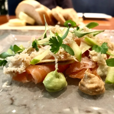 DEVONSHIRE CRAB Smoked salmon & avocado. Fennel & apple.