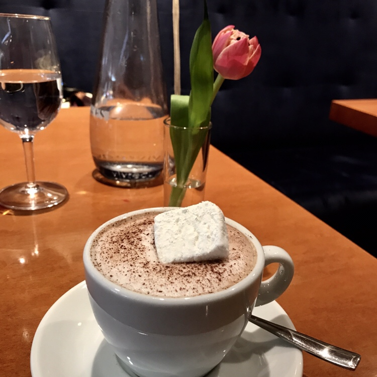 Hot Chocolate with a sugar powdered marshmellow