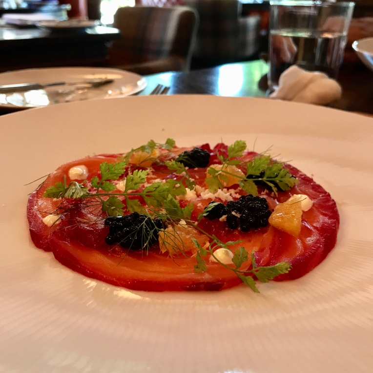Beetroot Cured Salmon Herring Roe