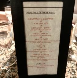 Pepe Sale dessert menu