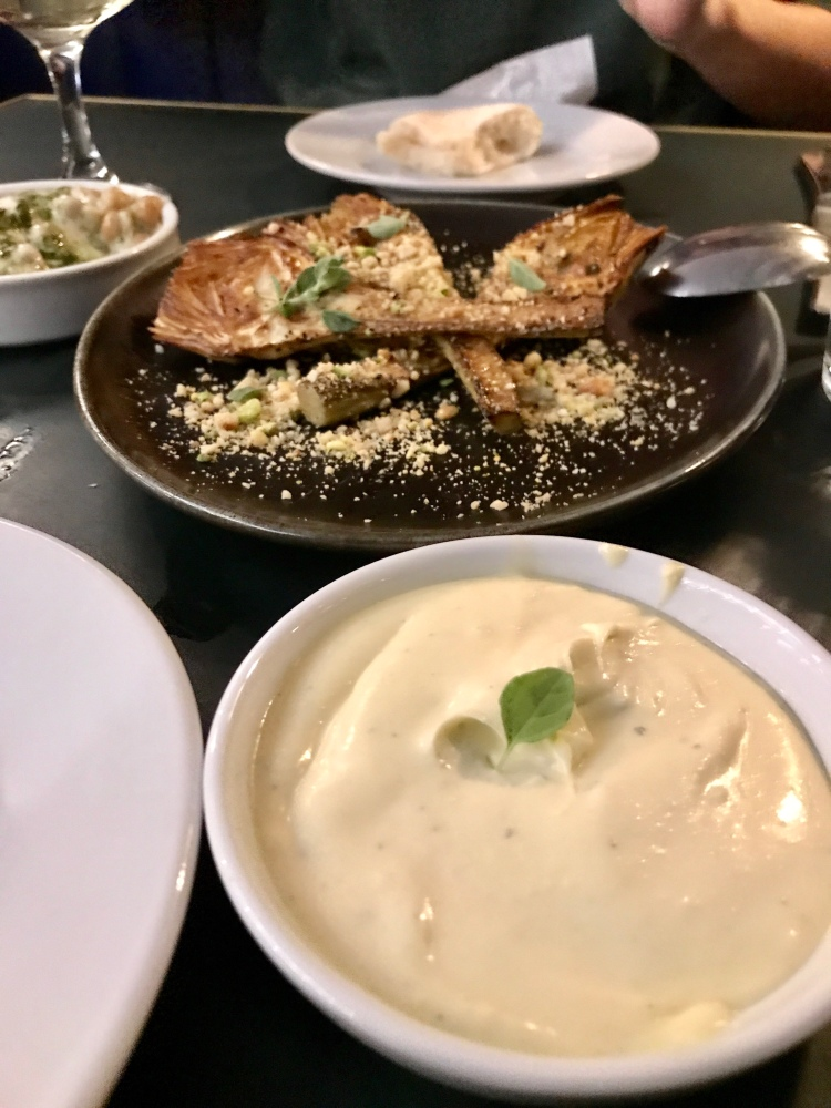 Artichokes a la Plancha Stilton cream, smashed nuts