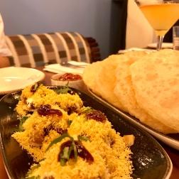 Puris [vegan] and Papri Chaat [vegetarian]