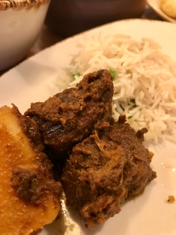 Goat Kosha Mangsho and Mattar Pulao [vegan] rice dish
