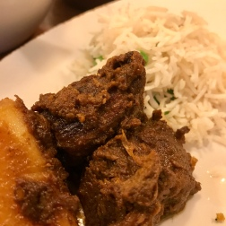 Goat Kosha Mangsho and Mattar Pulao [vegan] rice dish