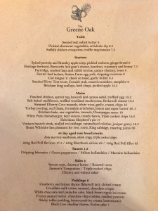 Winter menu at The Greene Oak, Windsor Berkshire