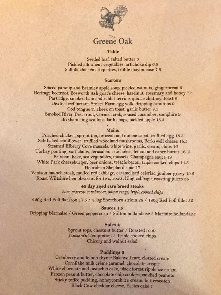 Winter menu at The Greene Oak, Windsor Berkshire