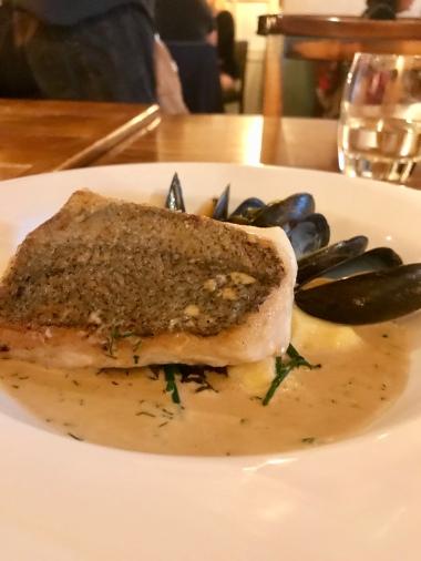 Brixham hake, sea vegetables, mussels, champagne sauce