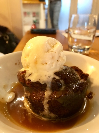 Sticky toffee pudding, honeycomb ice cream, butterscotch