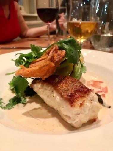 roast cod. Tempura soft shell crab. Bok choi. Rice noodle laksa. Lime. Coriander.