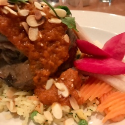 Lebanese braised lamb shank, split peas & lime. Persian basmati, saffron, dill, fava beans.