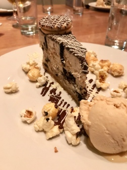 Oreo cookie cheesecake, peanut butter ice-cream, salted caramel popcorn.