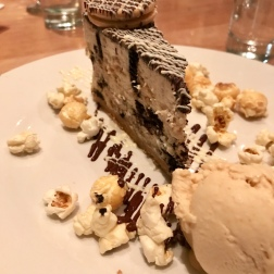 Oreo cookie cheesecake, peanut butter ice-cream, salted caramel popcorn.