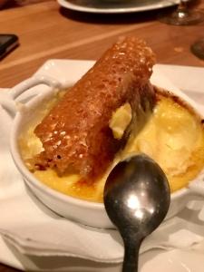 Crème brûlée. Stem ginger brandy snap.