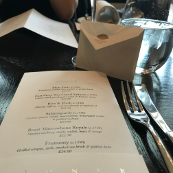 Menu at Dinner by Heston Blumenthal