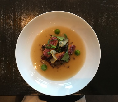 Frumenty (c.1390) Grilled octopus, spelt, smoked sea broth & pickled dulse