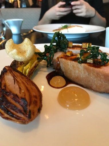 Roast Iberico Pork Chop (c. 1820) Smoked bispi cabbage, pickled onions, ice cider & Robert sauce
