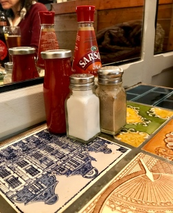 Sauces and seasoning at Mayfair Chippy