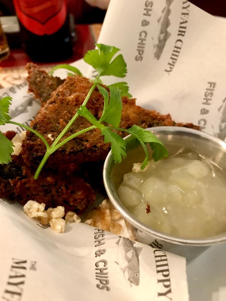 Doreen's black pudding fritters – Apple sauce & crackling salt