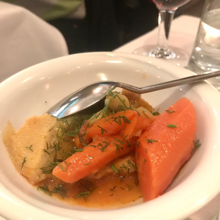 Enginar – Artichoke hearts cooked in olive oil with carrots, potatoes, tomatoes and garlic.