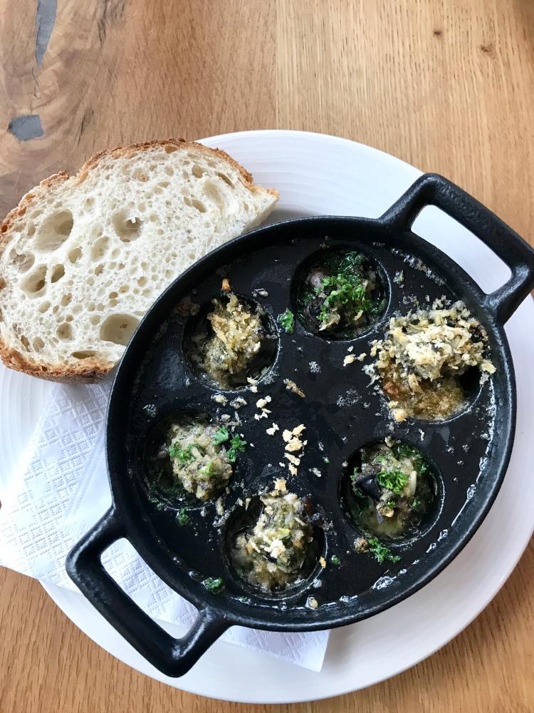 A dozen Burgundy snails with parsley & garlic butter