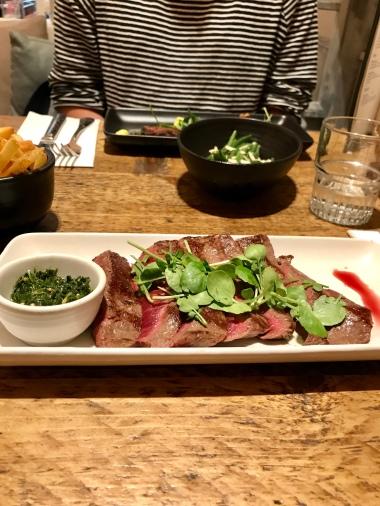 British flat iron steak, mojo verde sauce