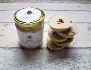 Raspberry White Choc butter cup stacked