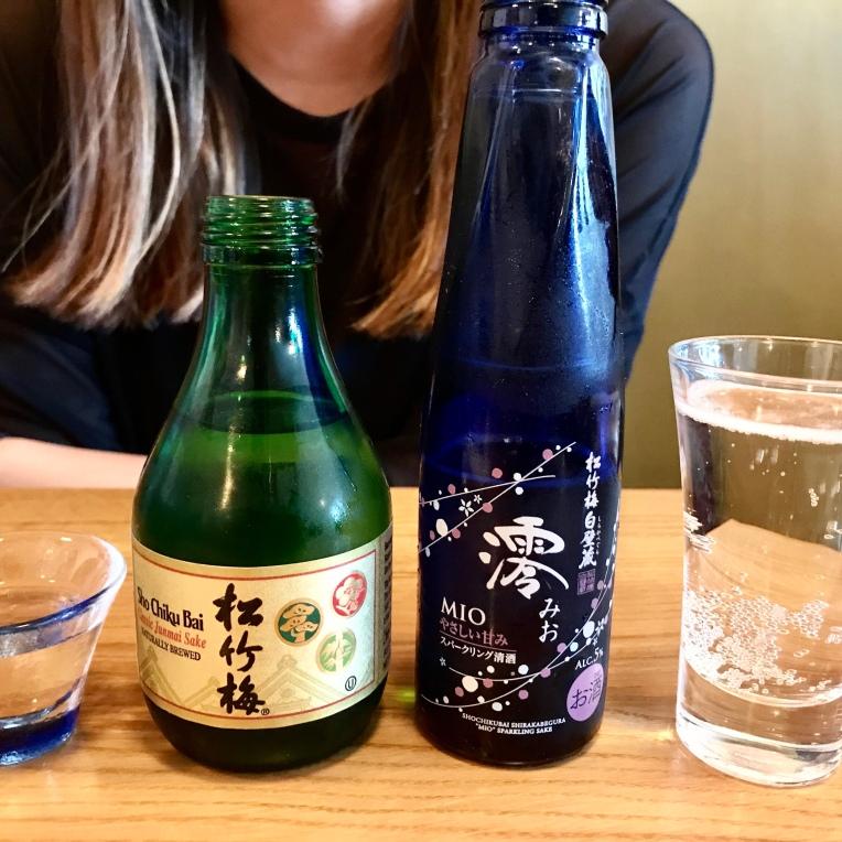 Sake for the table - Sho Chiku Bai Classic Junmae Sake (naturally brewed) and Mio Sparkling Sake