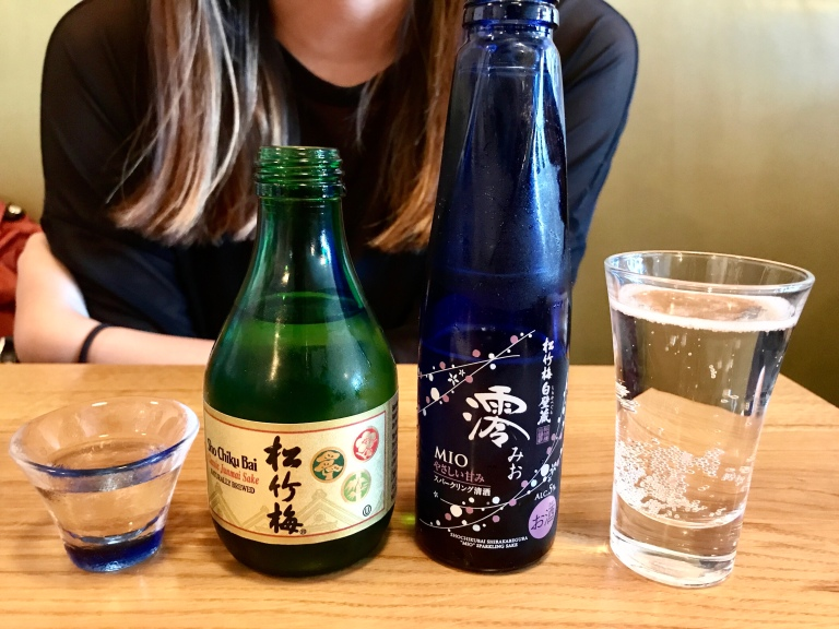 Sake for the table - Sho Chiku Bai Classic Junmae Sake (naturally brewed) and Mio Sparkling Sake