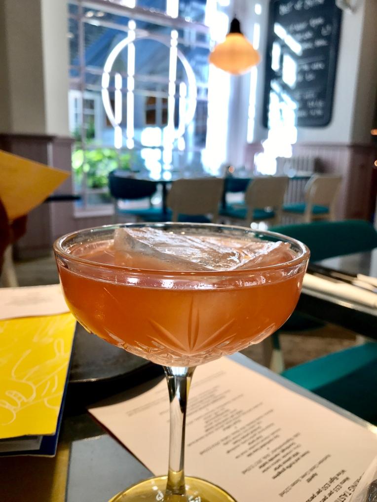 Codigo rosa blanco tequila, whispering angel rose wine, handmade strawberry syrup & citrus