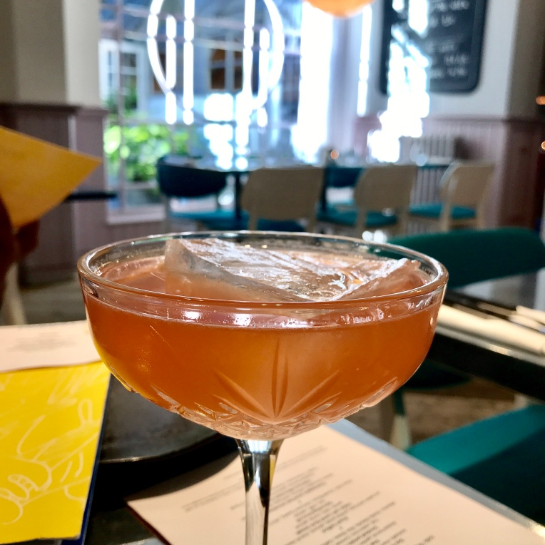 Codigo rosa blanco tequila, whispering angel rose wine, handmade strawberry syrup & citrus