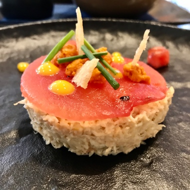 Dressed Dorset Crab meat, brown crab mousse, watermelon, confit yolk