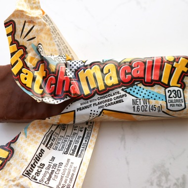 Watchamacallit wrapper half off