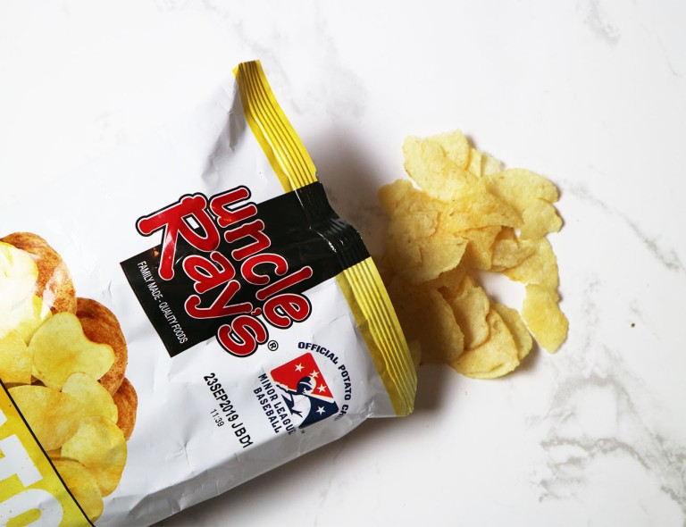Uncle Rays Potoato Chips opened and the crisps are out on show