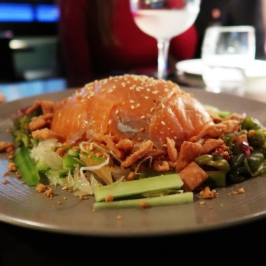 Yu Sheng salad house cured Loch Duart salmon, plum dressing