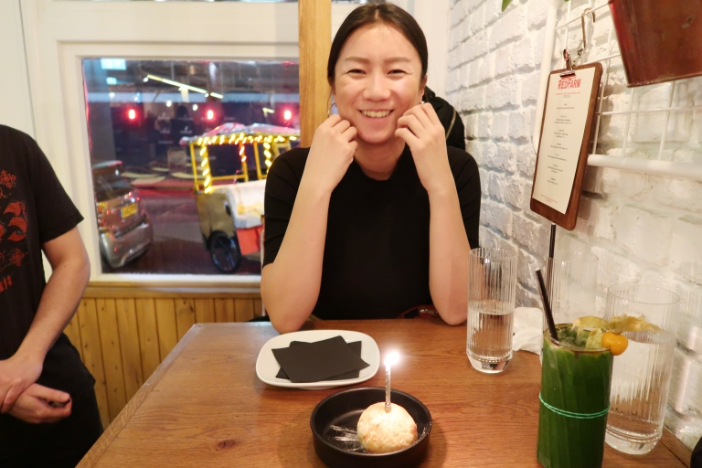 The birthday girl smiling away
